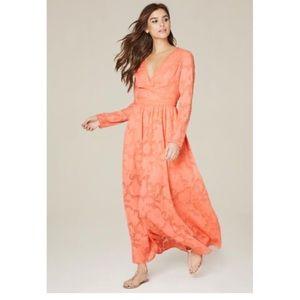 Bebe Salmon Color Jaquard Maxi Dress